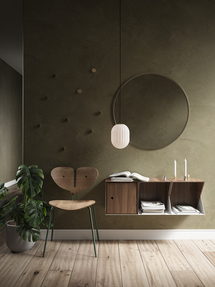 Bright Modeco Plus accompanied by Moth Chair in a olive stained room with wooden flooring
