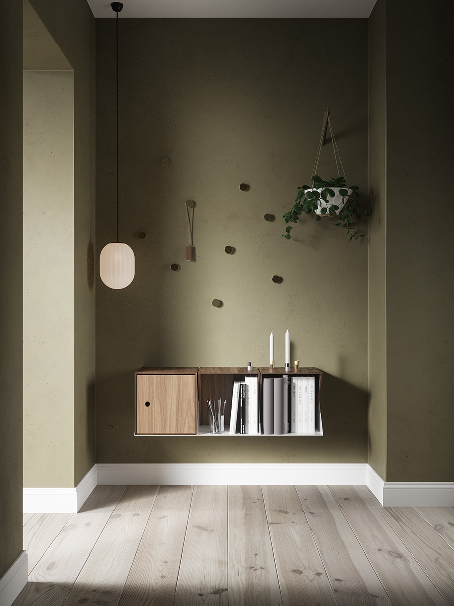 Bright Modeco Plus in a corridor with green walls and wooden floors