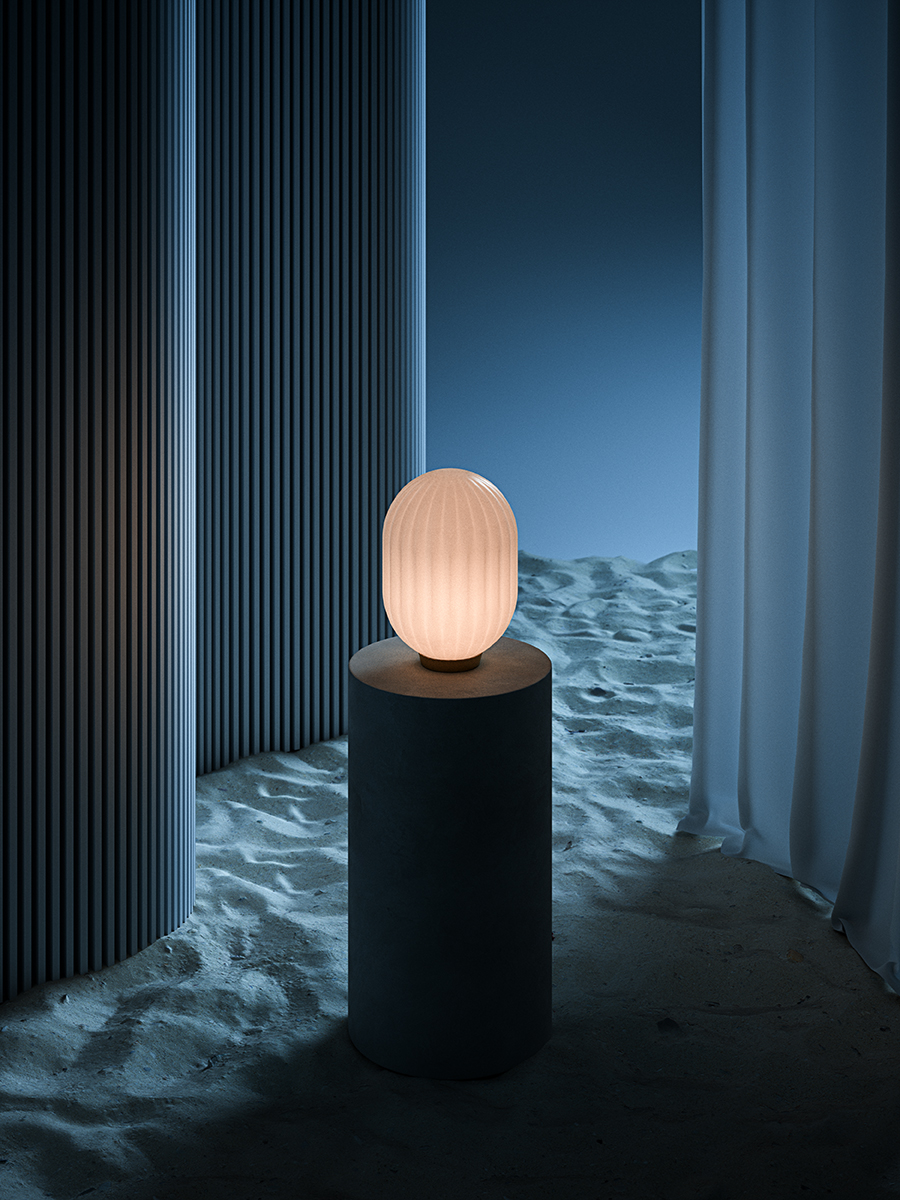 Bright Modeco Plus Table Lamp in an abstract blue light sand setting