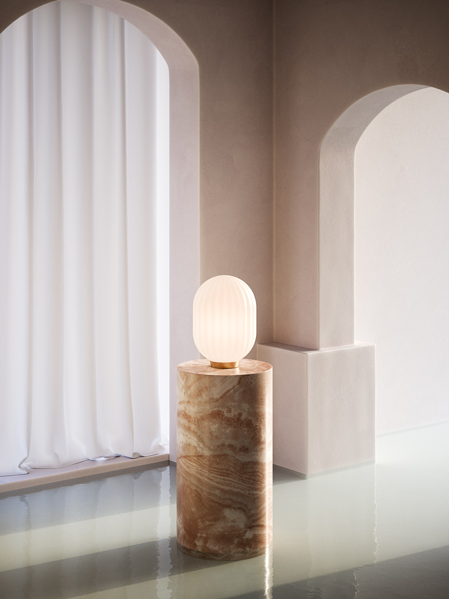 Bright Modeco on marble podium in an abstract ancient setting