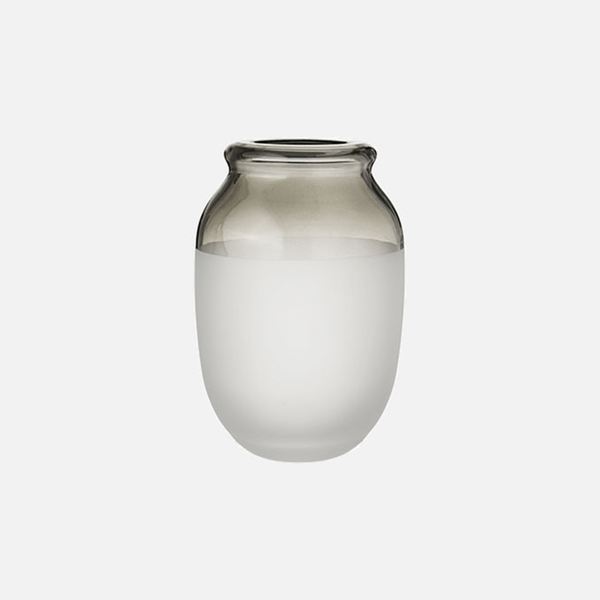 Symbiosis mouth blown glass vase with sand finish a olive top